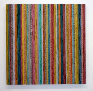 Buchard Vossmann, Kitchen Stripes, 2009, Berlin, Collage, kitchen towels on wood, 100 x 100 x 5cm Recycling