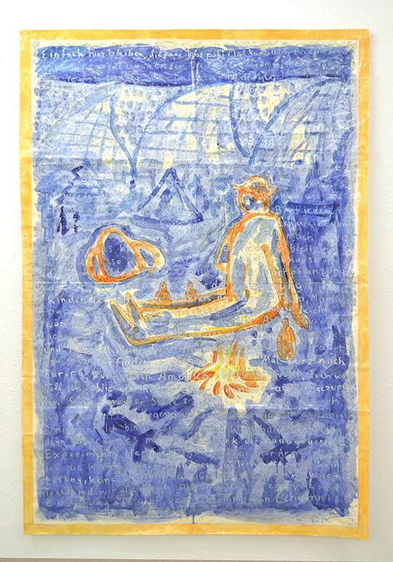 """Alfred Banze """"Ich selbst, als..."""" 2015 Berlin, Germany Zeichnung Tusche und Wasserfarben auf laminiertem Papier 100 x 150 cm"""