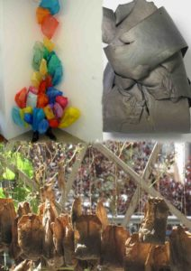 Collage of Plastic bags, foam, tea bags: Works of Sustainability an Oeconomic by Ou Jiun You, Stephanie Hannah and Renate Schweizer.Werke der Nachhaltigkeit und Ökonomie