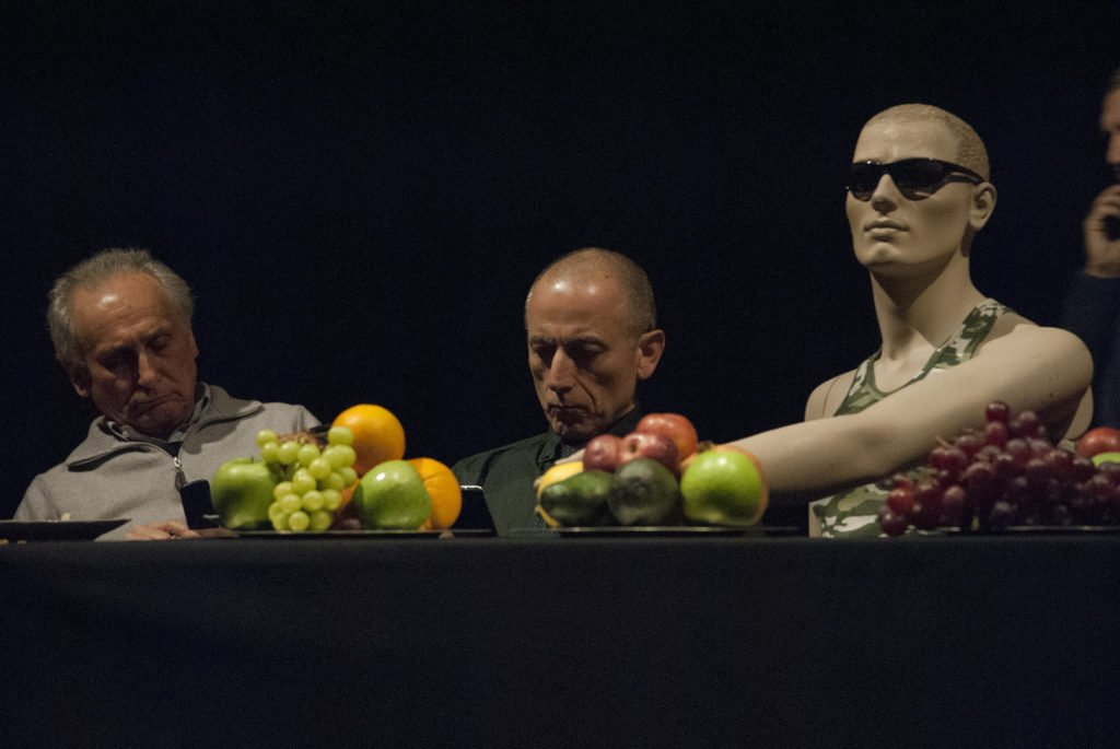 "Scene from the performance Today, ""The gods are gone"" (from The last supper) © Libera Mazzoleni Can you buy Pleasure?"
