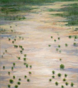 Land unter 7. Charlotte Bastian. Acryl auf Leinwand. 175 x 155 cm Sintflut heute
