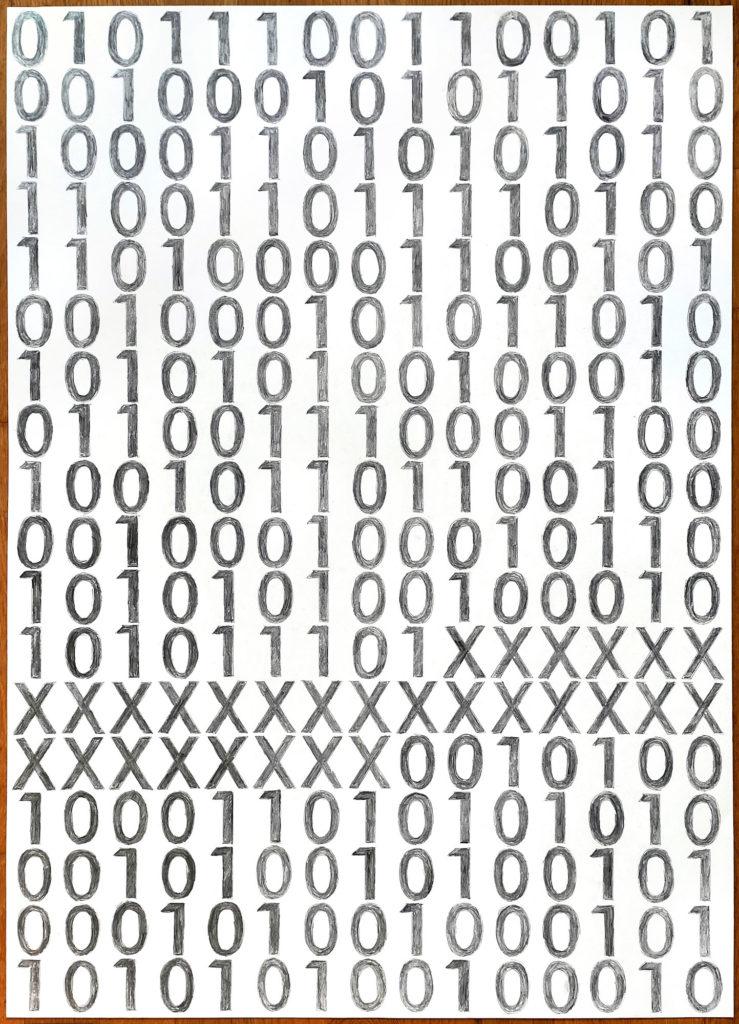 Datenstreik. Matthias Fritsch. Berlin, Deutschland, 2020, Visualisierungszeichnung, Bleistift auf Papier, Text & wöchentliche Aktivität