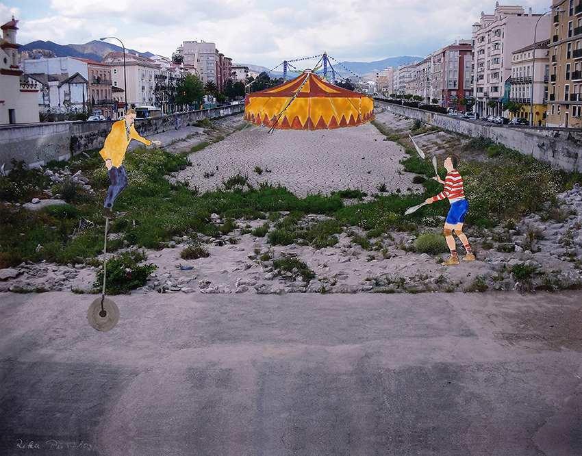 Ausgetrocknet. Rika Pütthoff-Glinka. Dortmund, 2019, Fotocollage, 70 x 100 cm Klimawandel to go