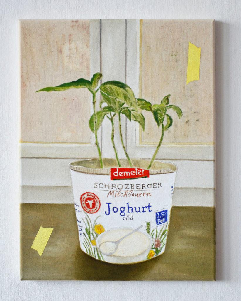 """Aus unserer Ausstellung """"Kunst der Nachhaltigkeit"""": Francesco Gioaccini: Still Life (Joghurt), Berlin 2020"""